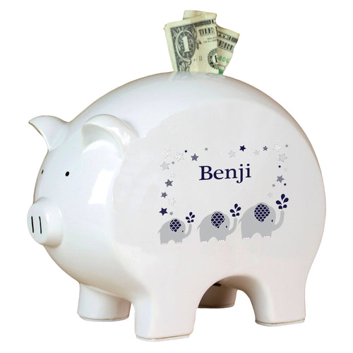 Personalized Piggy Bank with Navy Elephant design