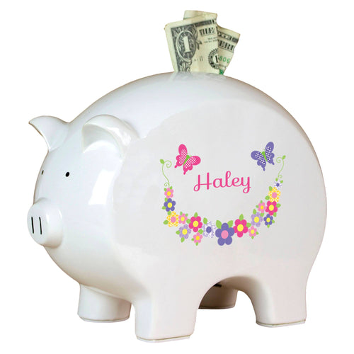 Personalized Piggy Bank with Bright Butterflies Garland design