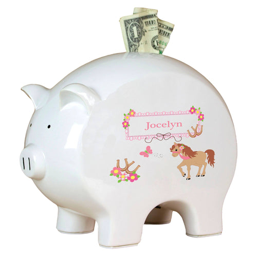 Personalized Piggy Bank with Ponies Prancing design