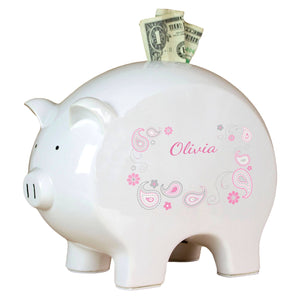 Personalized Piggy Bank with Paisley Pink Gray design