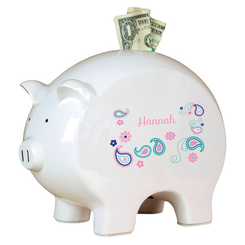 Personalized Piggy Bank with Paisley Teal and Pink design