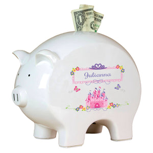 Personalized Piggy Bank with Princess Castle design