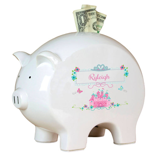 Personalized Piggy Bank with Pink Teal Princess Castle design