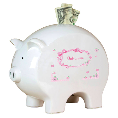 Personalized Piggy Bank with Pink Bow design