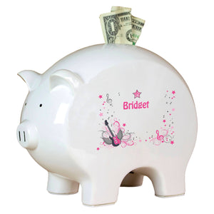 Personalized Piggy Bank with Pink Rock Star design