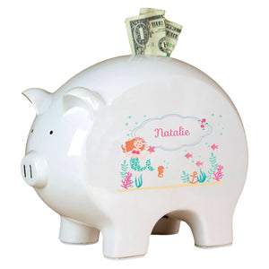 Personalized Piggy Bank with Mermaid Princess design