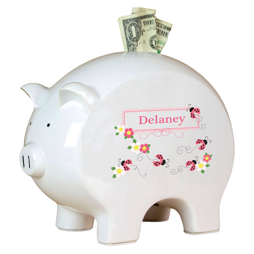 Personalized Piggy Bank with Pink Ladybugs design