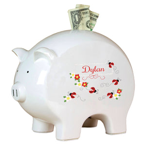 Personalized Piggy Bank with Red Ladybugs design