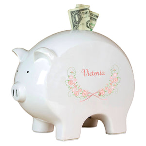 Personalized Piggy Bank with Blush Floral Garland design