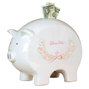 Personalized Piggy Bank with Hc Blush Floral Garland design