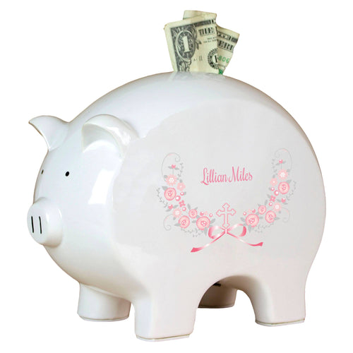 Personalized Piggy Bank with Hc Pink Gray Floral Garland design