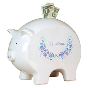Personalized Piggy Bank with Lavender Floral Garland design