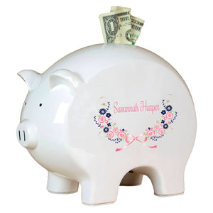 Personalized Piggy Bank with Navy Pink Floral Garland design