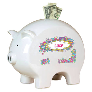 Personalized Piggy Bank with Groovy Swirl design