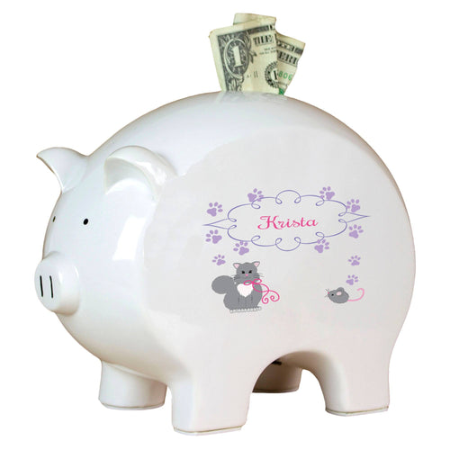 Personalized Piggy Bank with Kitty Cat design