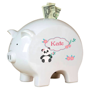 Personalized Piggy Bank with Panda Bear design