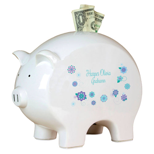 Personalized Piggy Bank with Florascope design