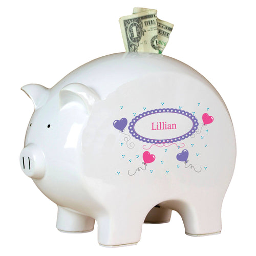 Personalized Piggy Bank with Heart Balloons design