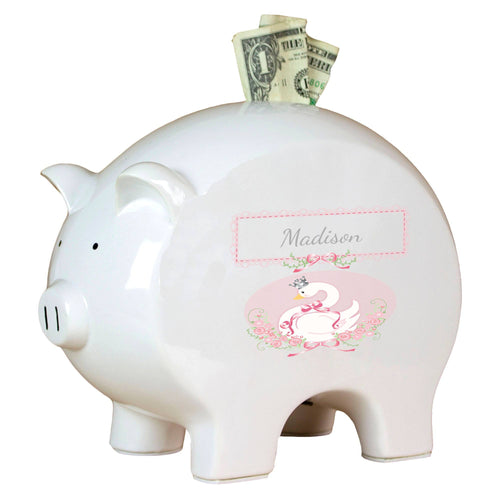 Personalized Piggy Bank with Swan design