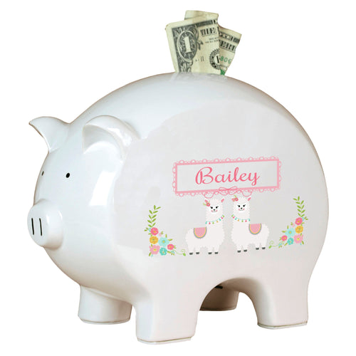 Personalized Piggy Bank with Alpaca Llama design