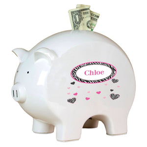 Personalized Piggy Bank with Groovy Zebra design