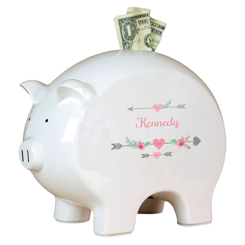 Personalized Piggy Bank with Girl Tribal Arrows design