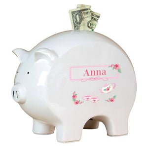 Personalized Piggy Bank with Tea Party design