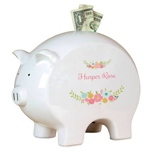 Personalized Piggy Bank with Spring Floral design