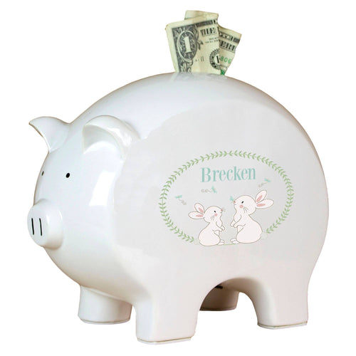 Personalized Piggy Bank with Classic Bunny design