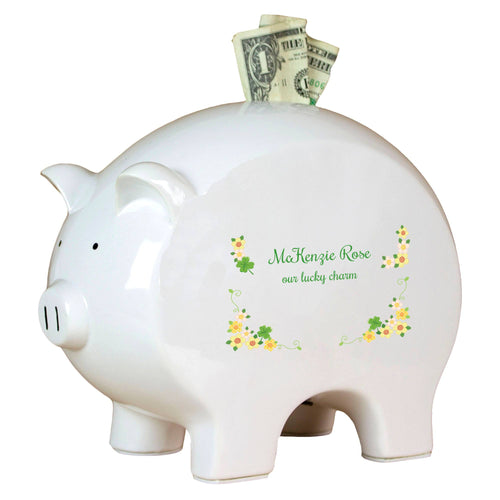 Personalized Piggy Bank with Shamrock design