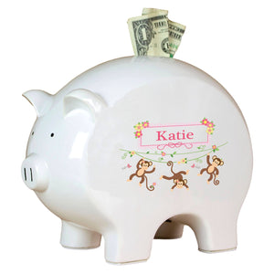Personalized Piggy Bank with Monkey Girl design