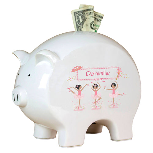 Personalized Piggy Bank with Ballerina Black Hair design