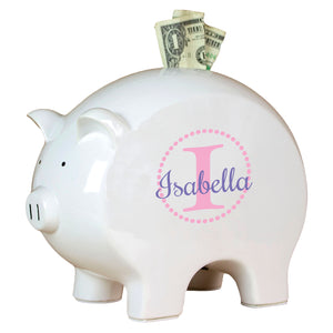 Personalized Piggy Bank with Pink monogrammed design