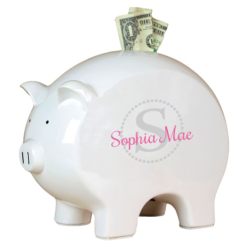 Personalized Piggy Bank with Light Gray monogrammed design