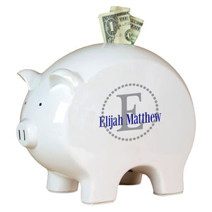 Personalized Piggy Bank with Dark Gray monogrammed design
