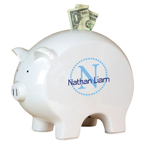 Personalized Piggy Bank with Aqua monogrammed design
