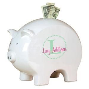 Personalized Piggy Bank with Mint monogrammed design