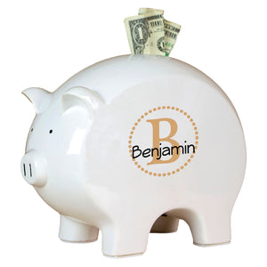 Personalized Piggy Bank with Brown monogrammed design