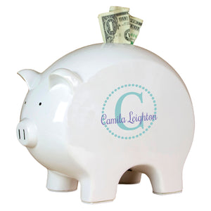 Personalized Piggy Bank with Teal monogrammed design