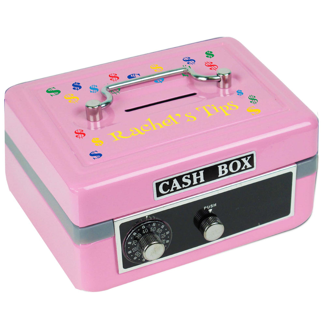 Personalized Pink Cash Box with Dollar Signs Primary design