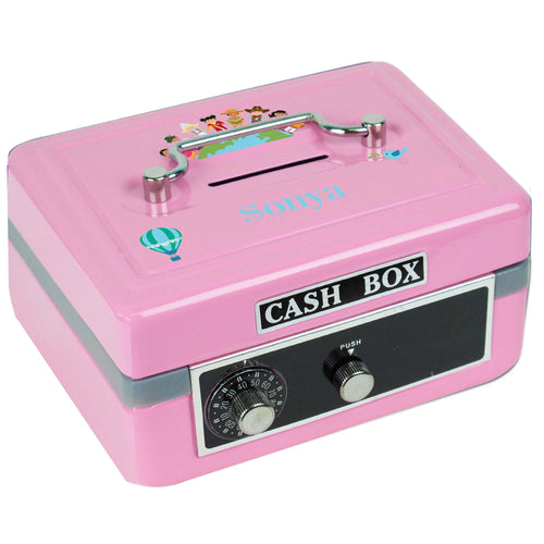 Personalized Small World Childrens Pink Cash Box