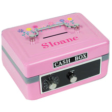 Personalized Stemmed Flowers Childrens Pink Cash Box