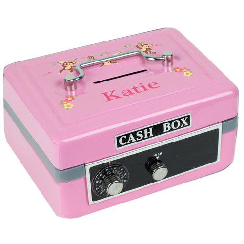 Personalized Monkey Girl Childrens Pink Cash Box