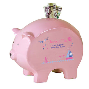 Personalized Pink Piggy Bank - Girl's Sailboat