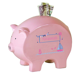 Personalized Pink Piggy Bank with Pink Sailboat design