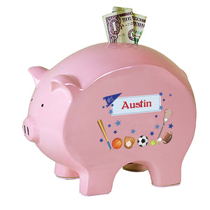 Personalized Pink Piggy Bank with Sports design
