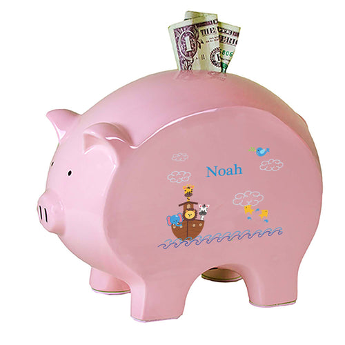 Personalized Pink Piggy Bank with Noahs Ark design