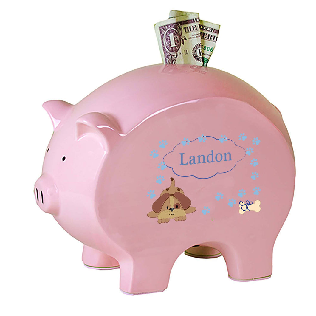 Personalized Pink Piggy Bank with Blue Puppy design