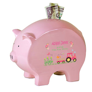Personalized Pink Piggy Bank - Pink Tractor