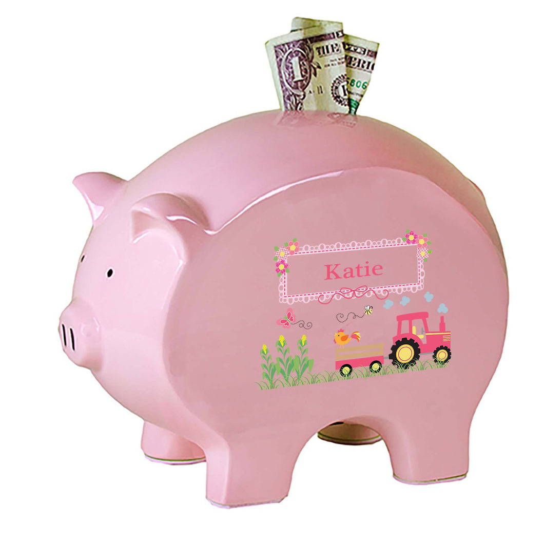 Personalized Pink Piggy Bank with Pink Tractor design